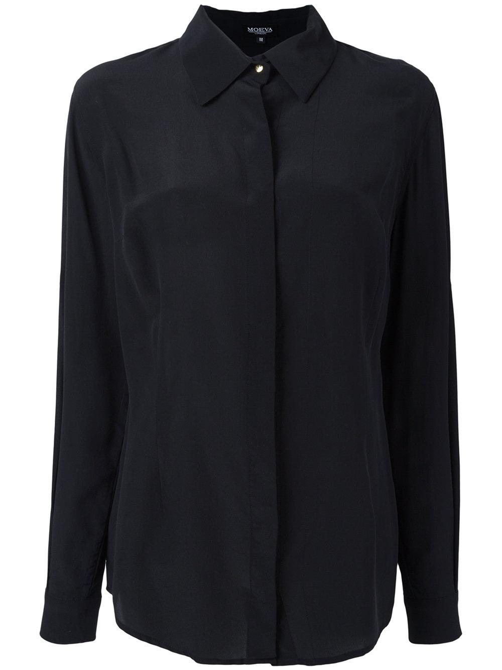 Moeva long sleeve shirt women silk m in black lyst for Silk long sleeve shirt