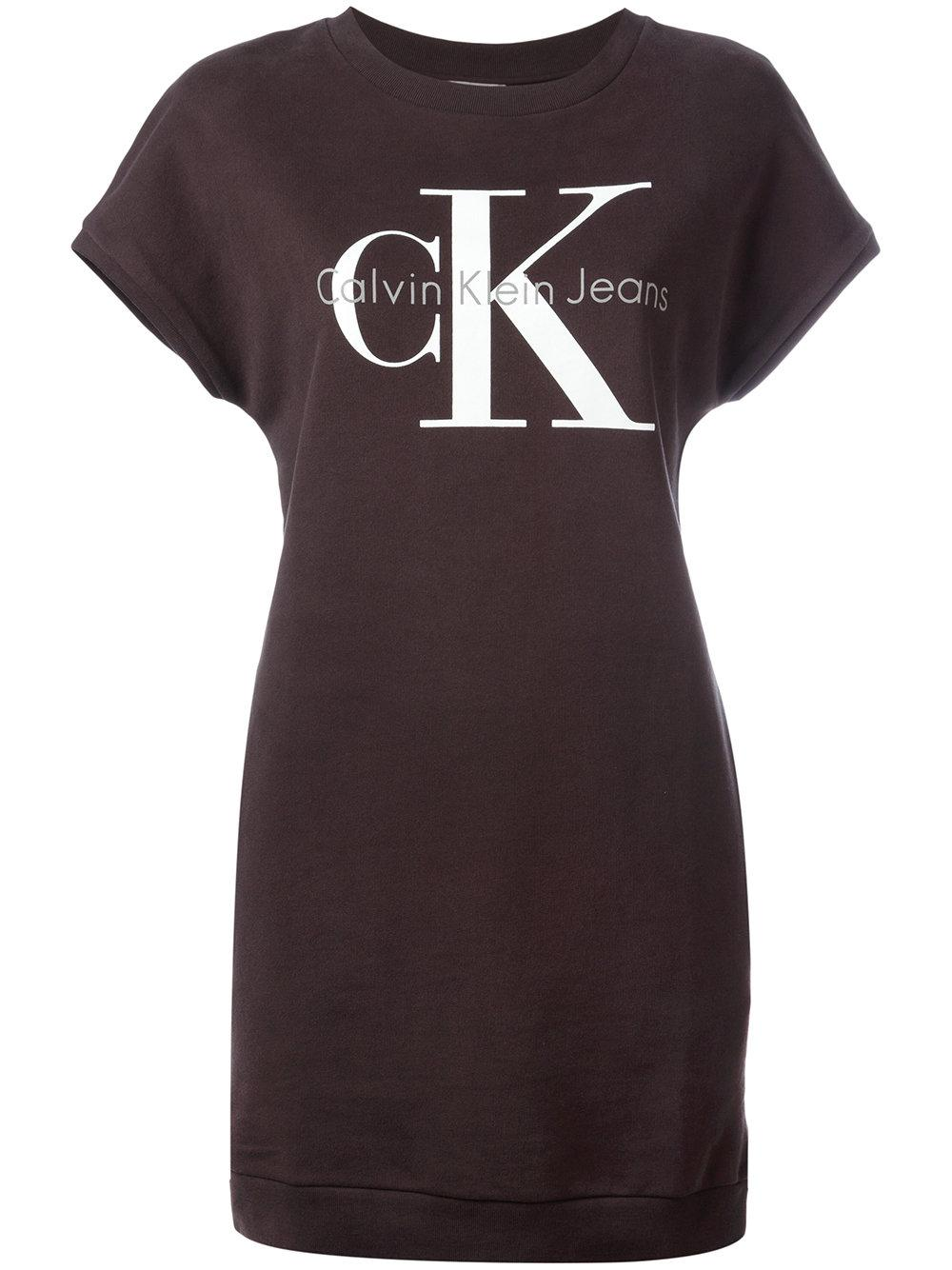 Calvin klein jeans iconic logo t shirt dress women for Logo t shirt dress