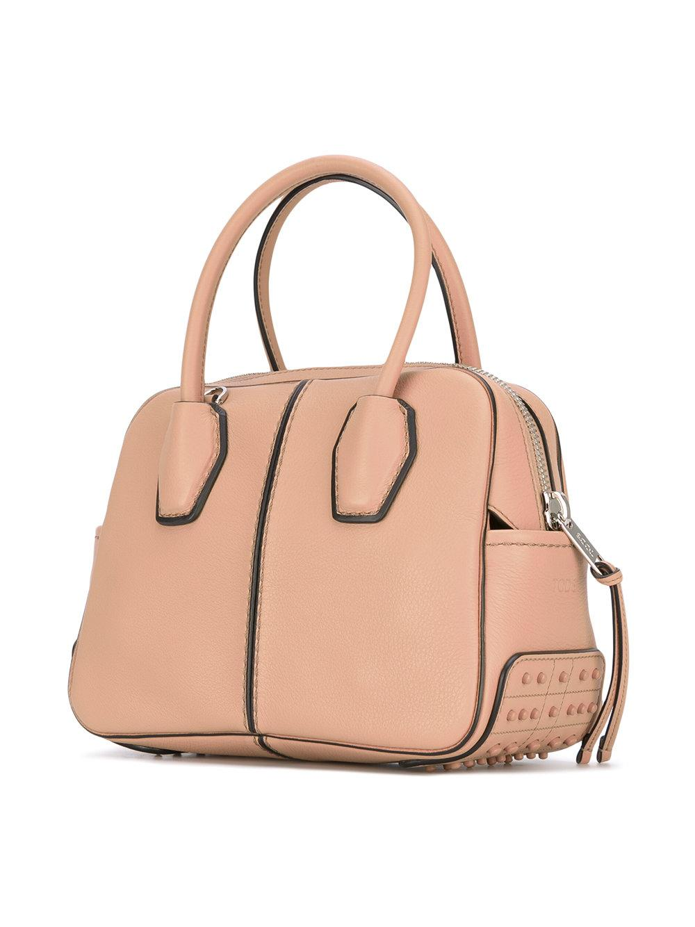 Tod's Miky Bowler Leather Tote Bag  in Pink/Purple (Pink)