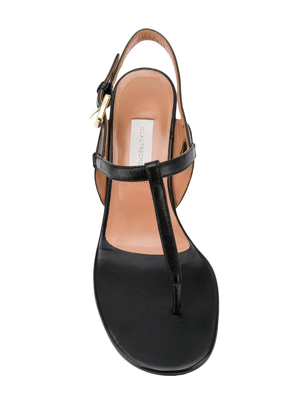Lyst L Autre Chose Block Heel Thong Sandals In Black