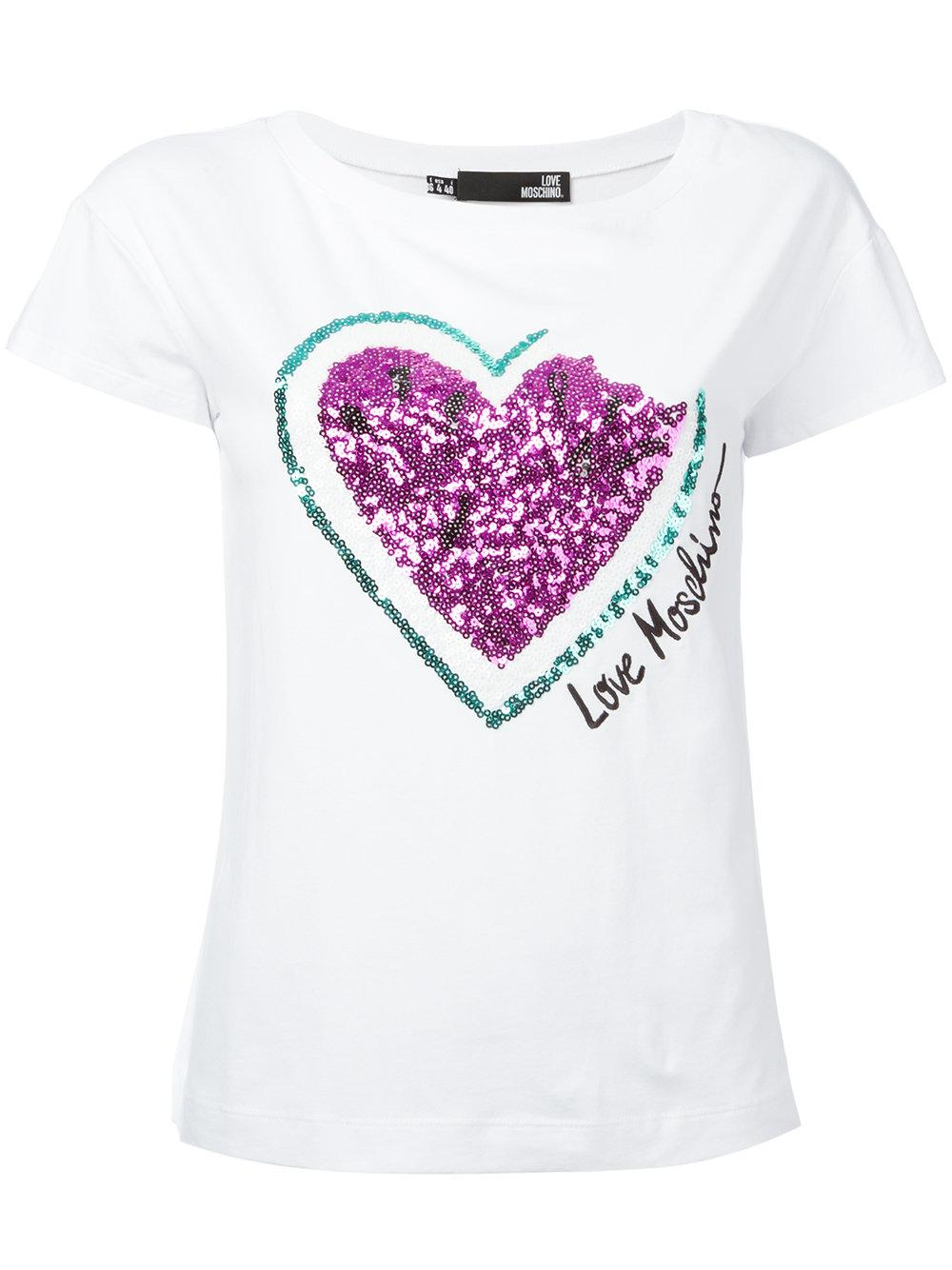 Love moschino sequinned heart t shirt women cotton for Cotton and elastane t shirts