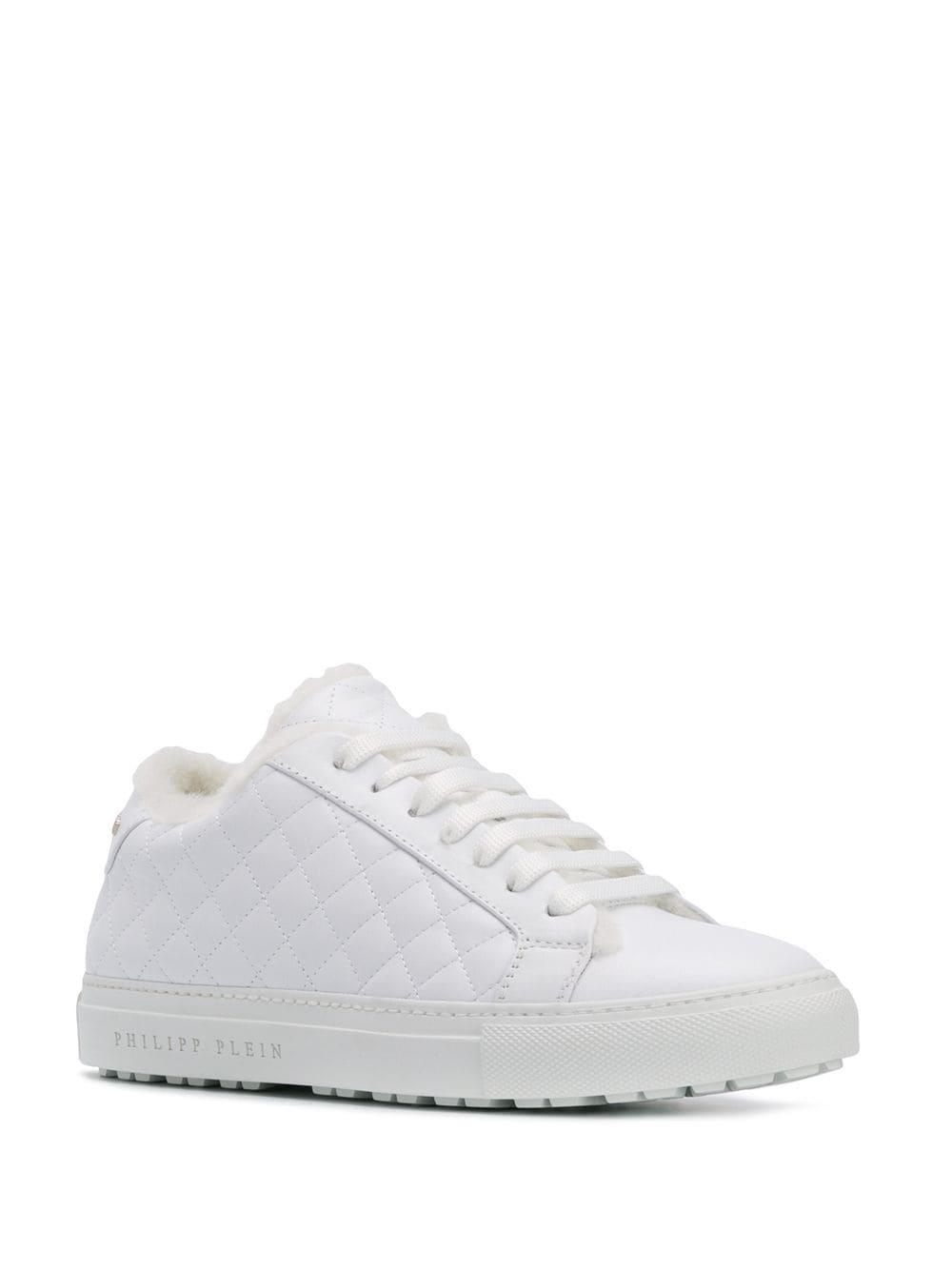 Zapatillas con acolchado a rombos Philipp Plein de Cuero de color Blanco