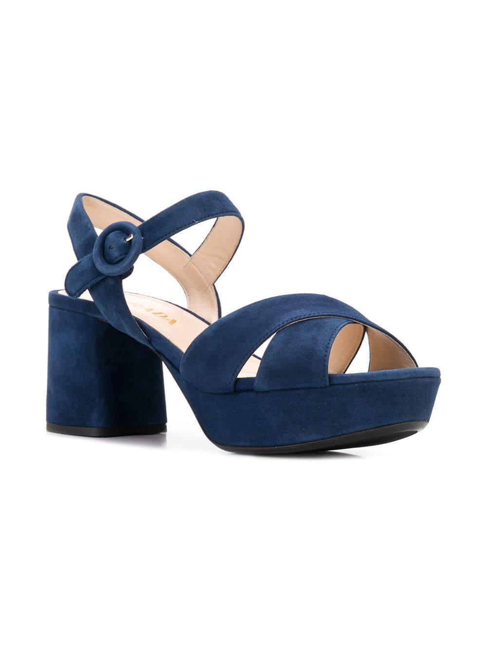 bff871f9c35 Lyst - Prada Platform Sandals in Blue