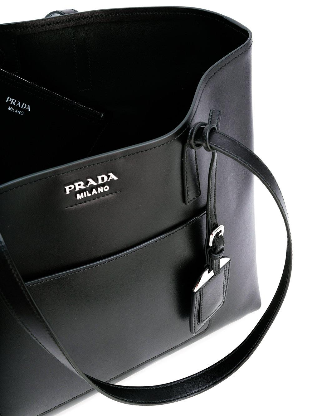 30161b3aea Lyst - Prada - Logo Plaque Tote - Women - Calf Leather - One Size in ...