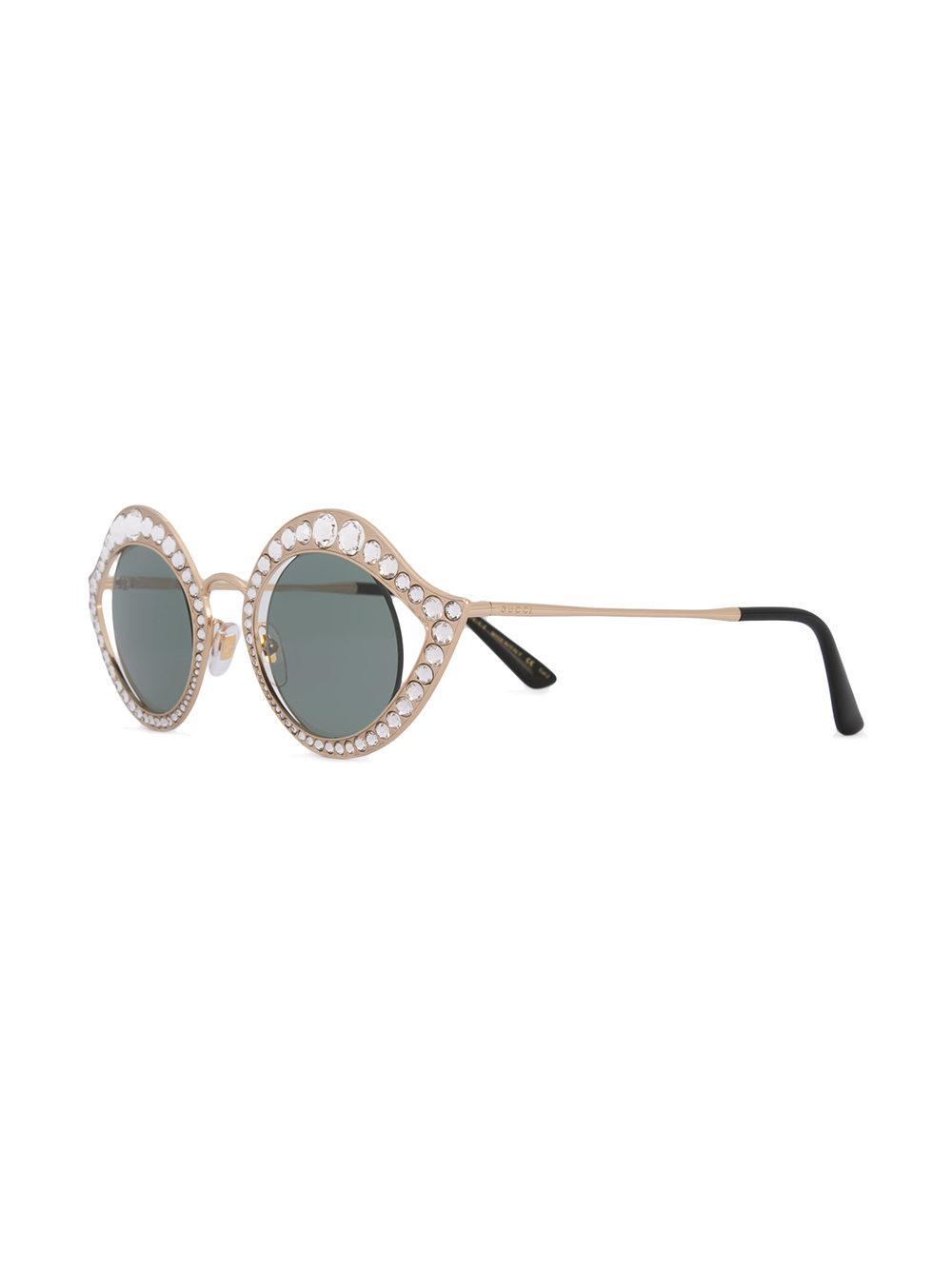 a891ba95ac2 PRADA Studded Ornate Cat Eye Sunglasses SPR 31Q Black 172166. Gucci Studded  Cat Eye Sunglasses in Metallic