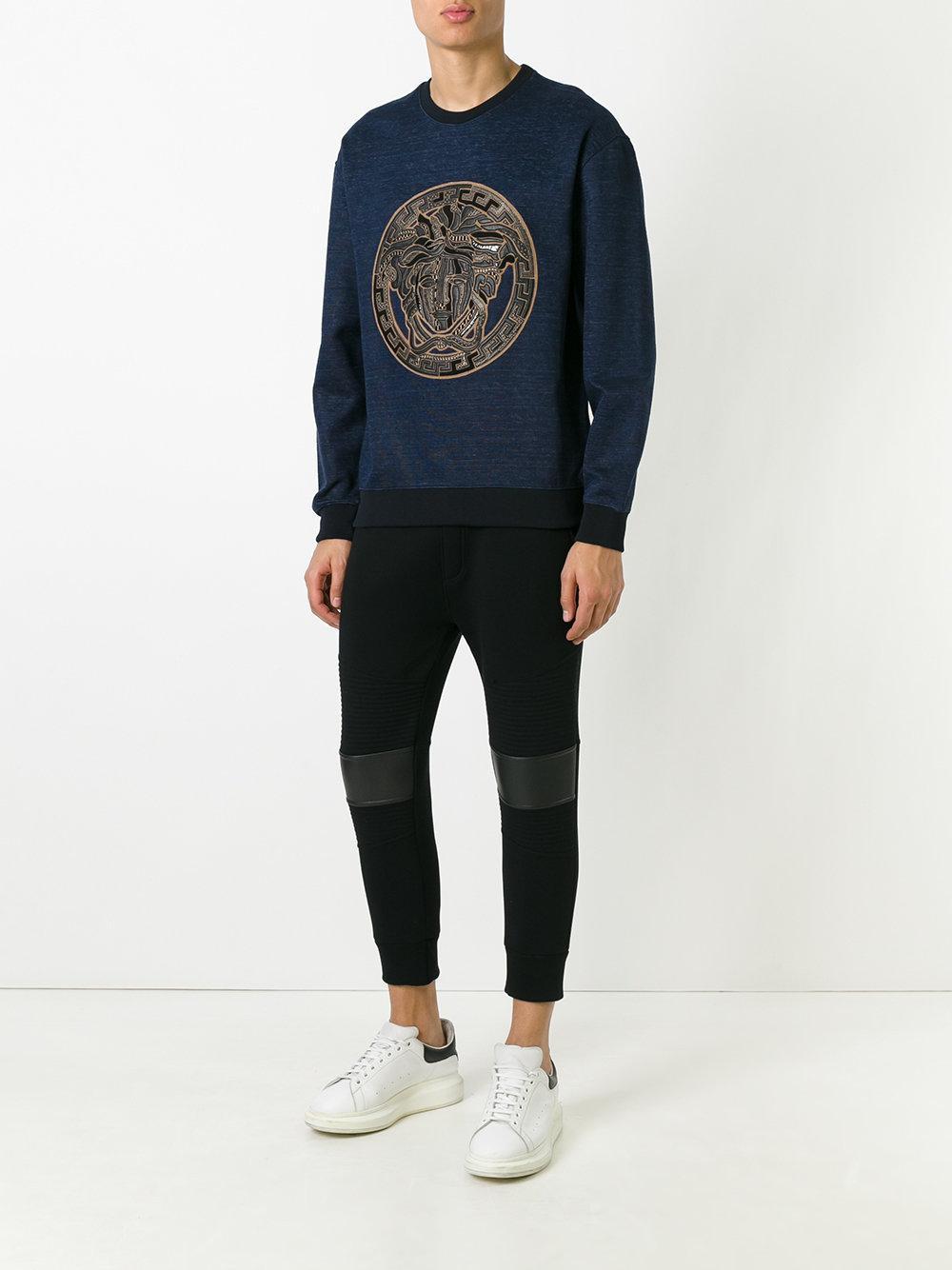 Versace Cotton Medusa Sweatshirt in Blue for Men