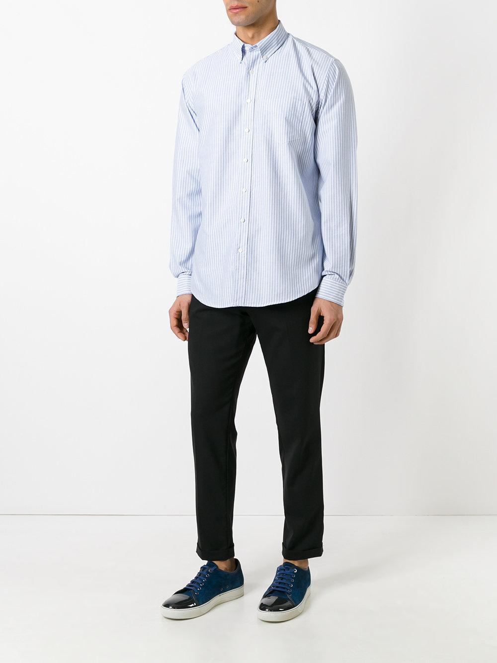 Schnayderman's Cotton Striped Shirt in Blue for Men