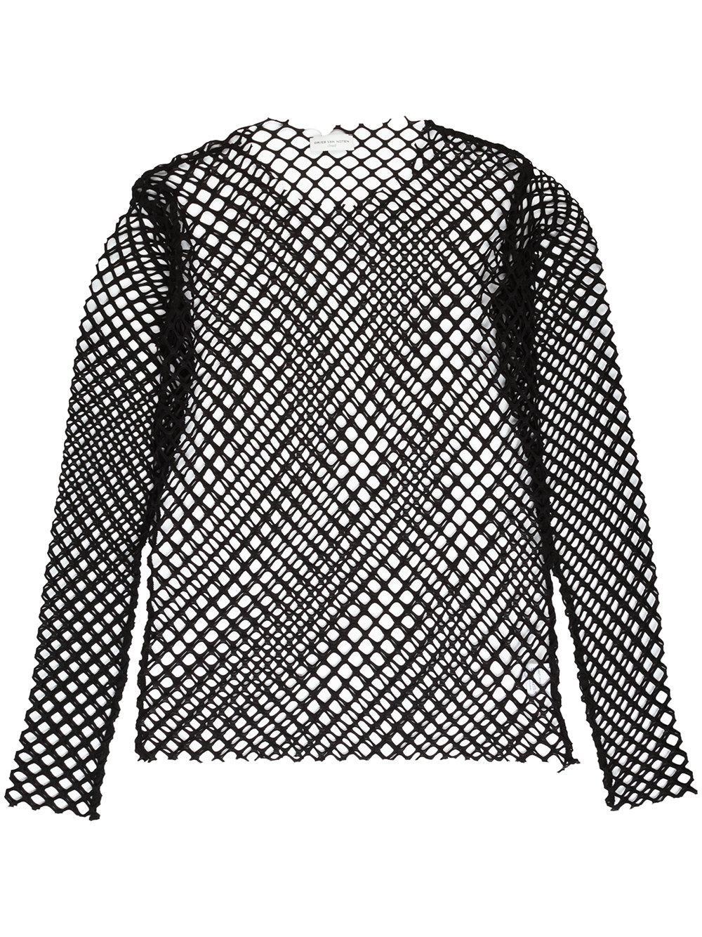 Lyst dries van noten mesh long sleeved t shirt in black for Mesh long sleeve t shirt