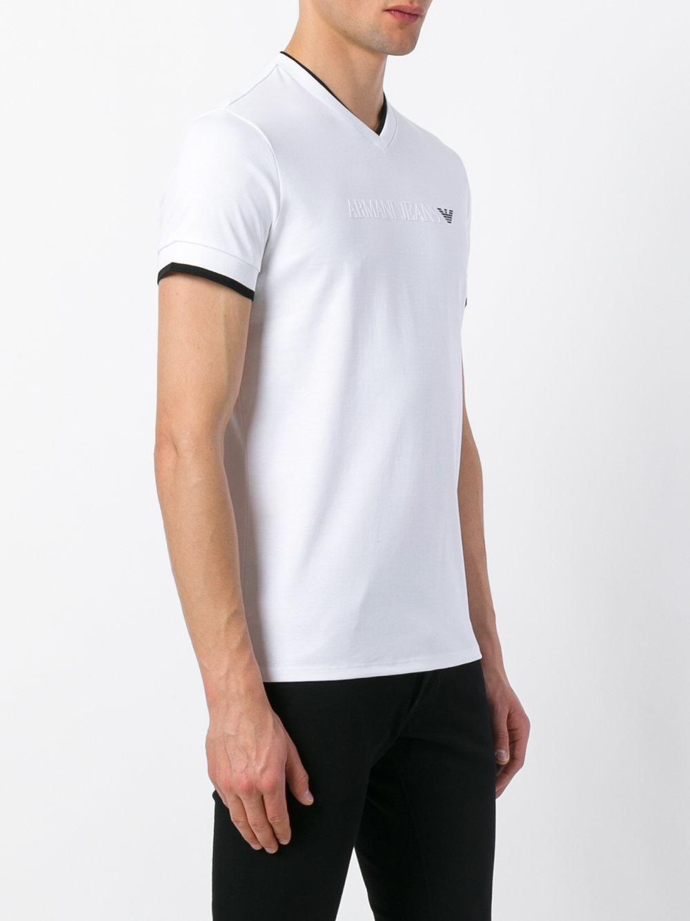 armani jeans white t shirt in white for men lyst. Black Bedroom Furniture Sets. Home Design Ideas