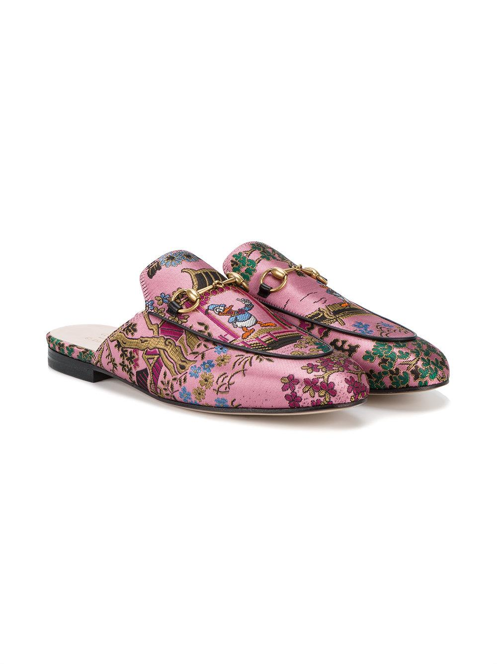 Gucci Canvas Princetown Donald Duck Jacquard Slippers In