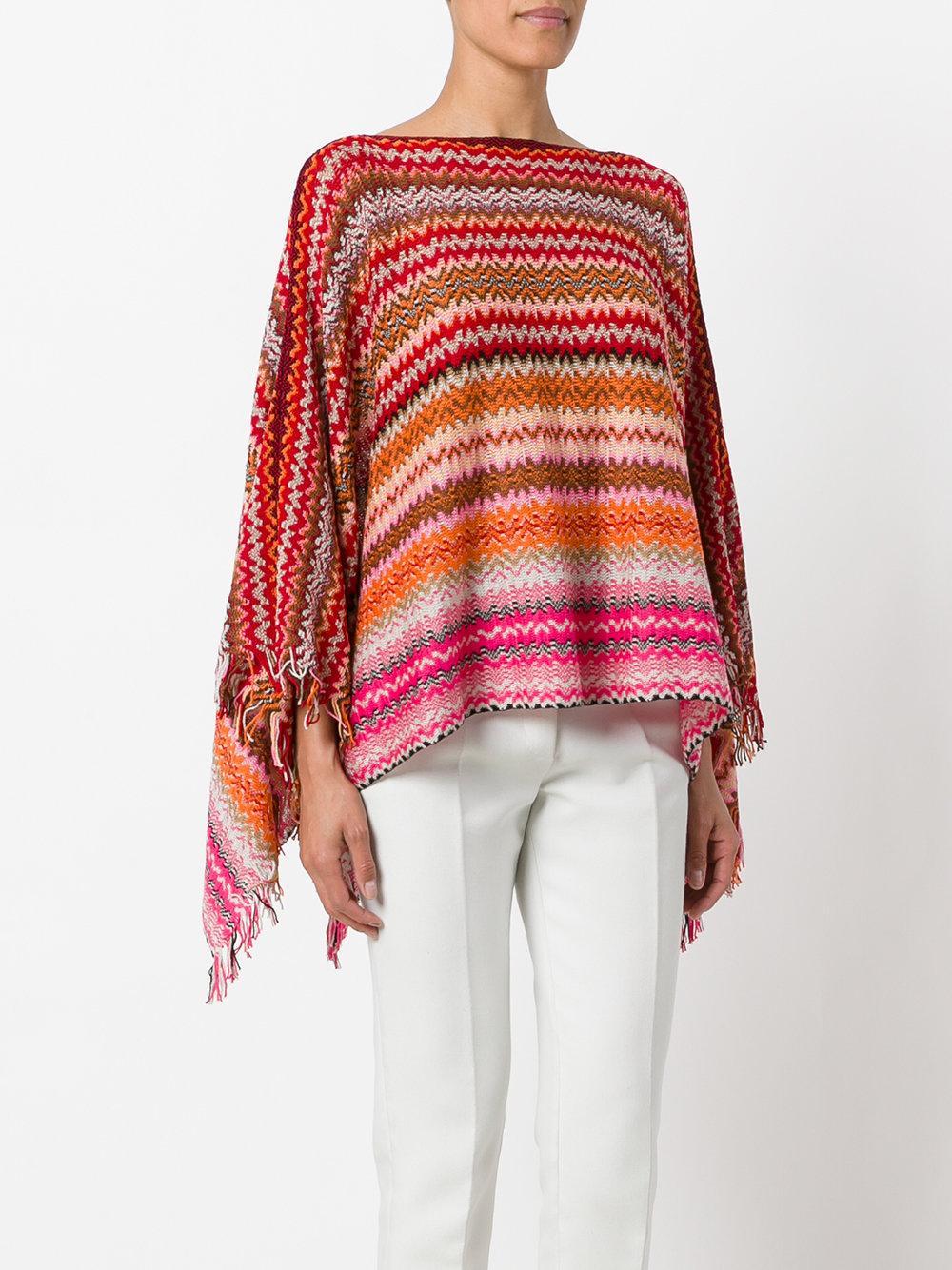 Lyst Missoni Zig Zag Crochet Knit Poncho In Red