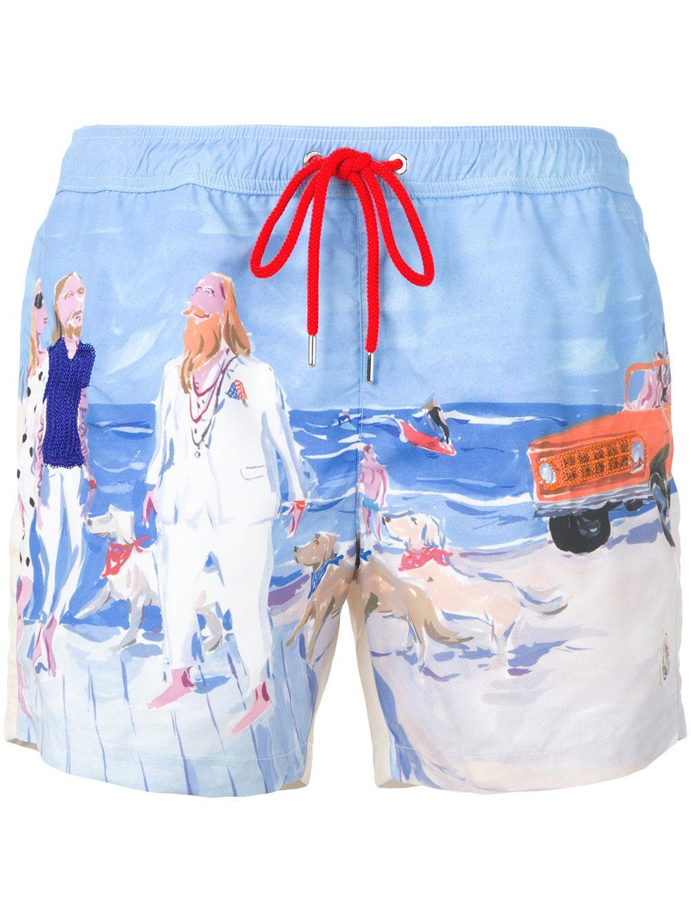 lyst moncler printed track shorts in blue for men. Black Bedroom Furniture Sets. Home Design Ideas