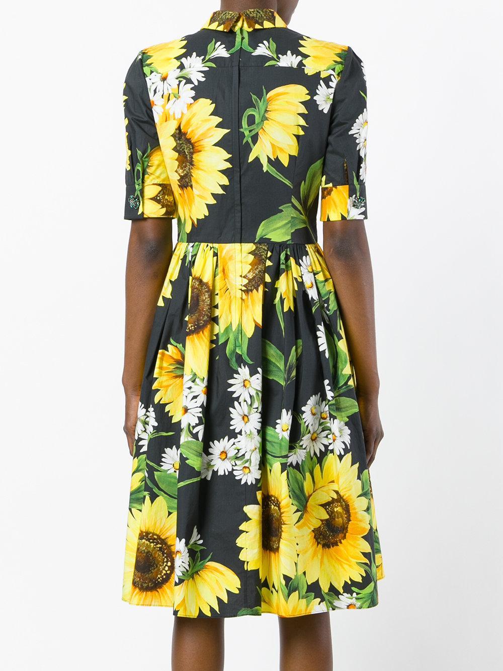 Lyst Dolce Amp Gabbana Sunflower Shirt Dress In Black