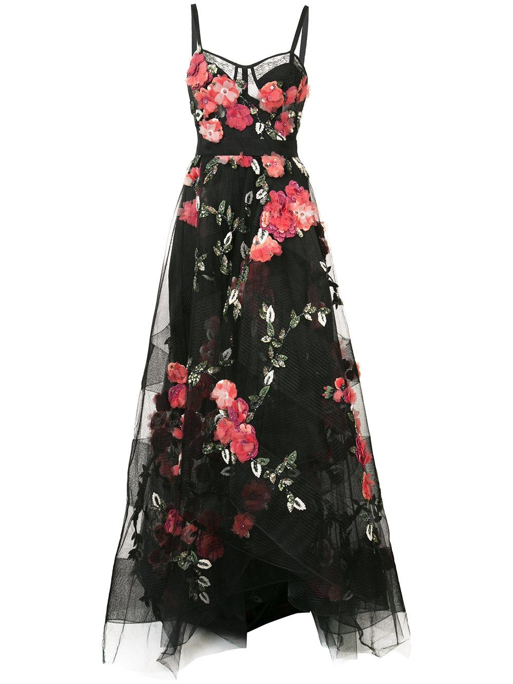 Lyst marchesa floral embroidered maxi dress in black