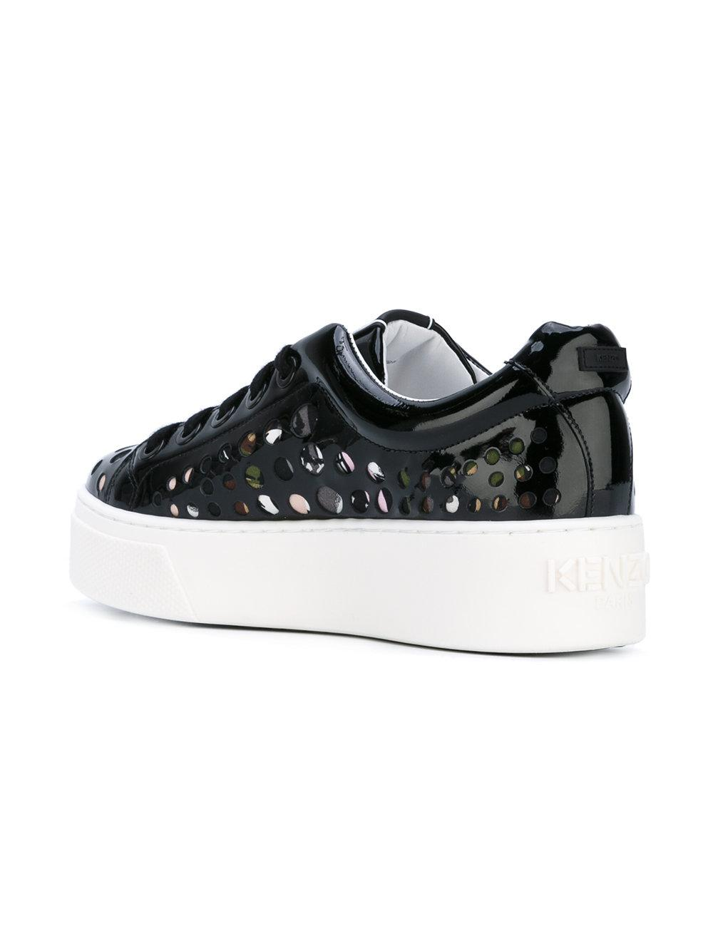 KENZO Leather Punch-hole Sneakers in Black