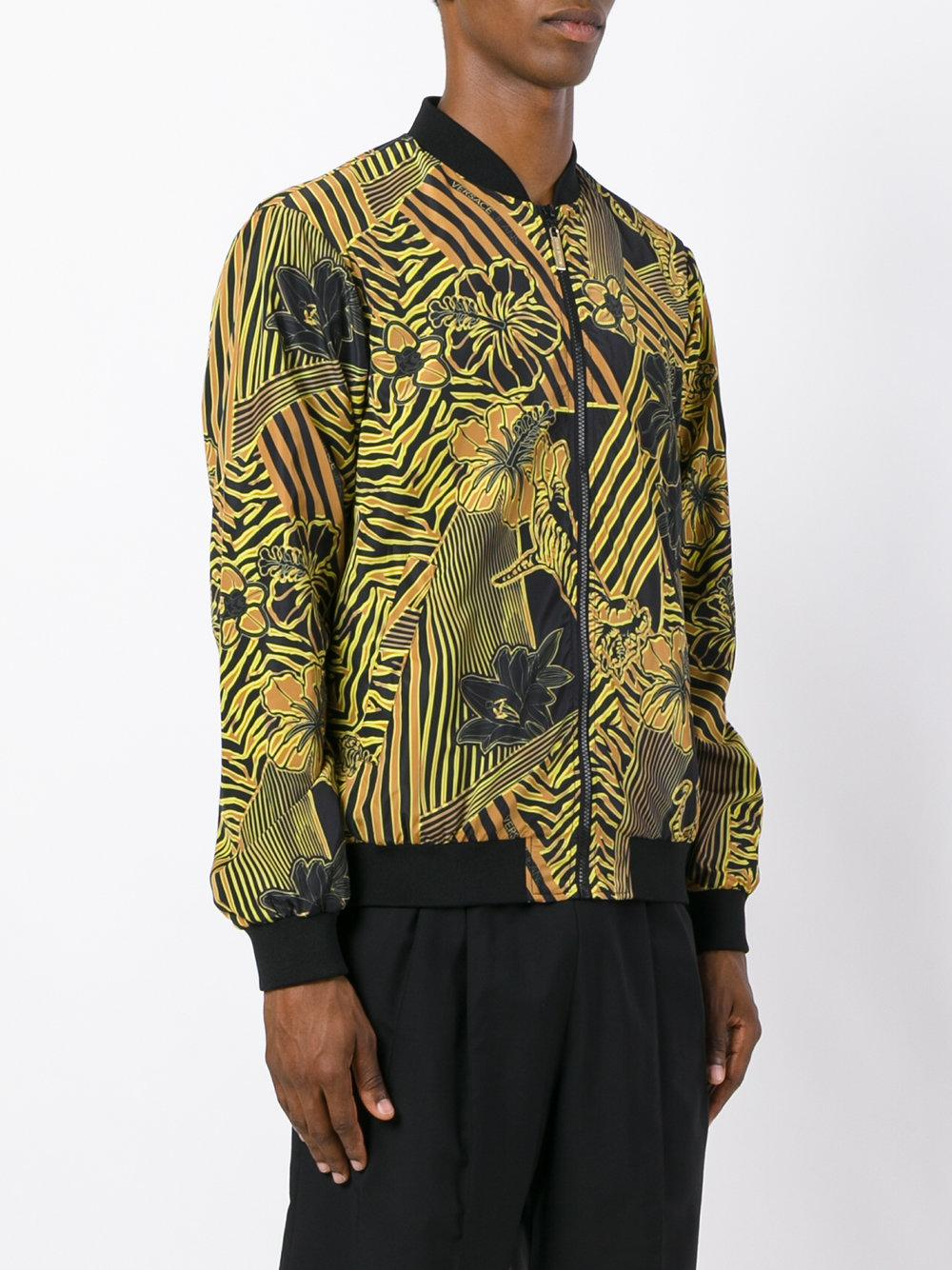 Versace Jeans Couture Synthetic Hibiscus Print Bomber Jacket in Black for Men