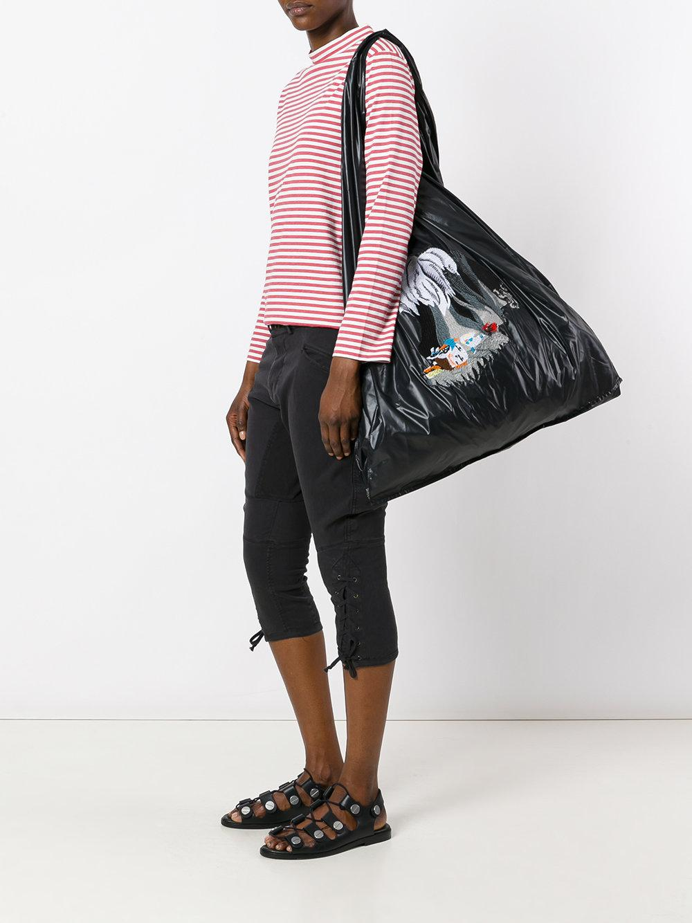 AALTO Synthetic Oversized Tote Bag in Black