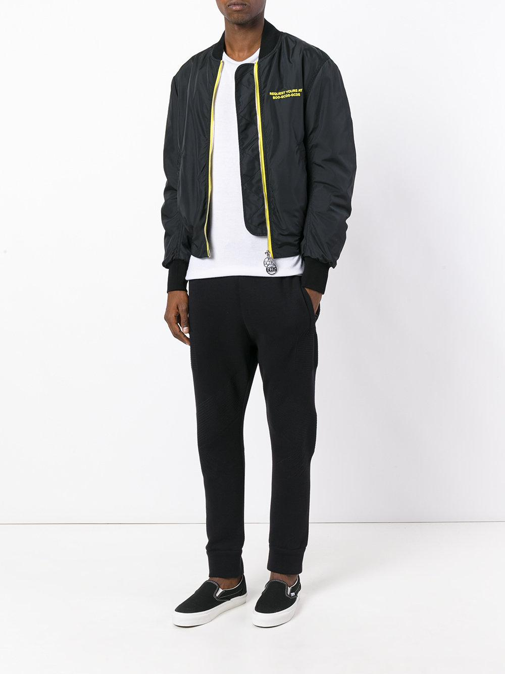 Gcds Synthetic Printed Bomber Jacket in Black for Men