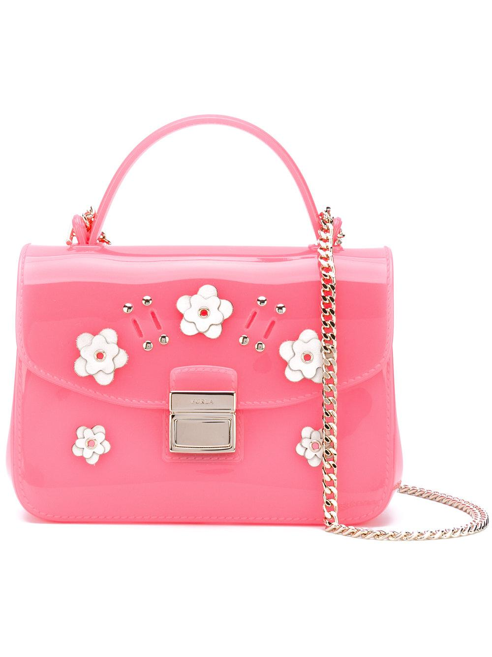 Lyst - Furla Floral Appliquu00e9 Shoulder Bag In Pink