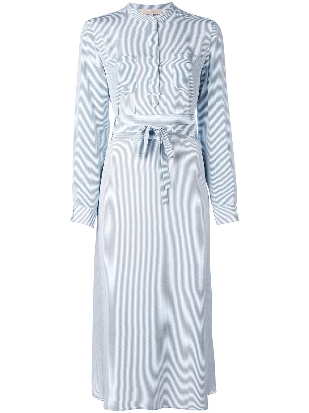 Lyst vanessa bruno belted pinstripe midi shirt dress in blue for Light blue pinstripe shirt