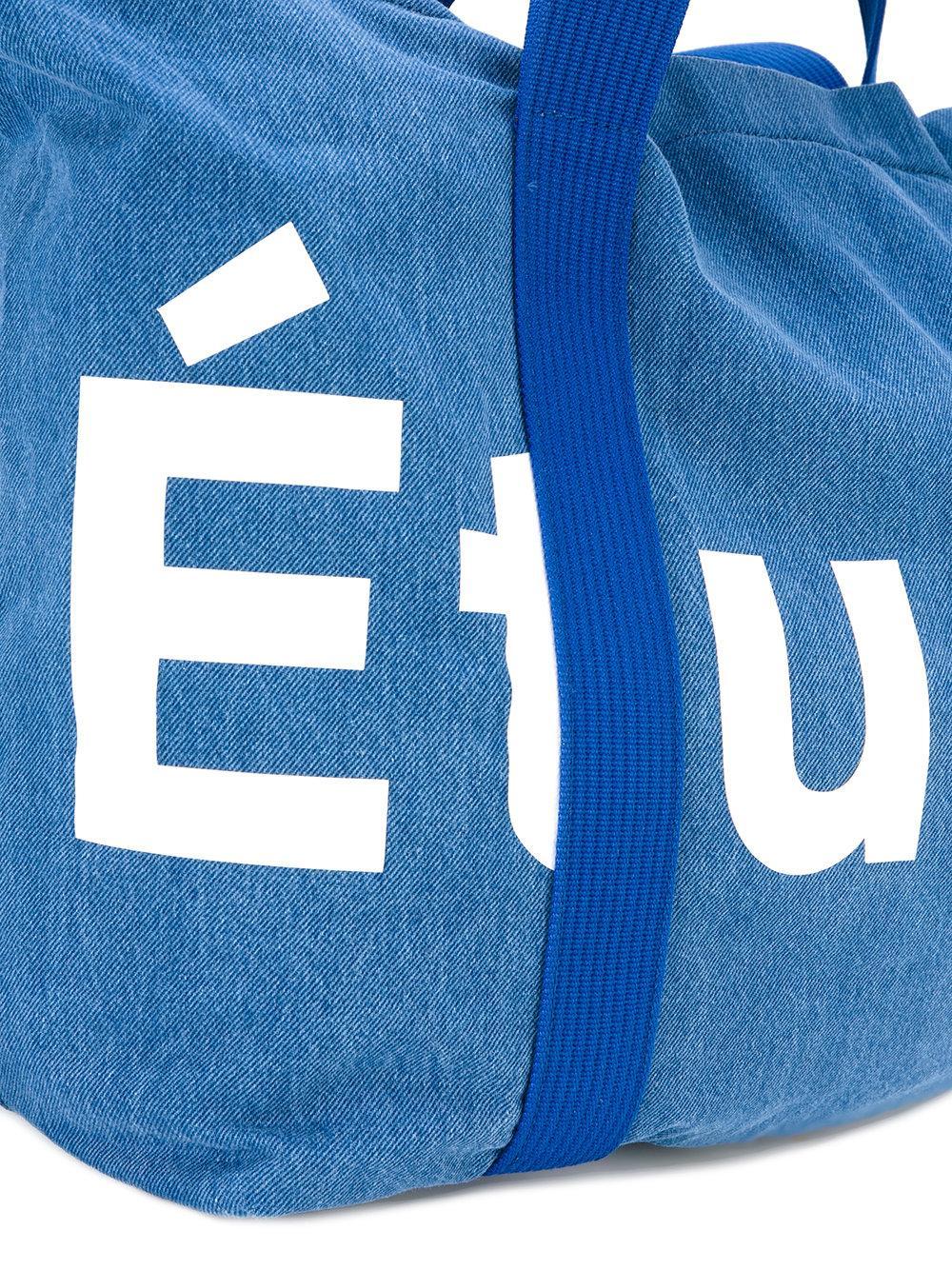 Etudes Studio Cotton Logo Stamped Tote Bag in Blue for Men
