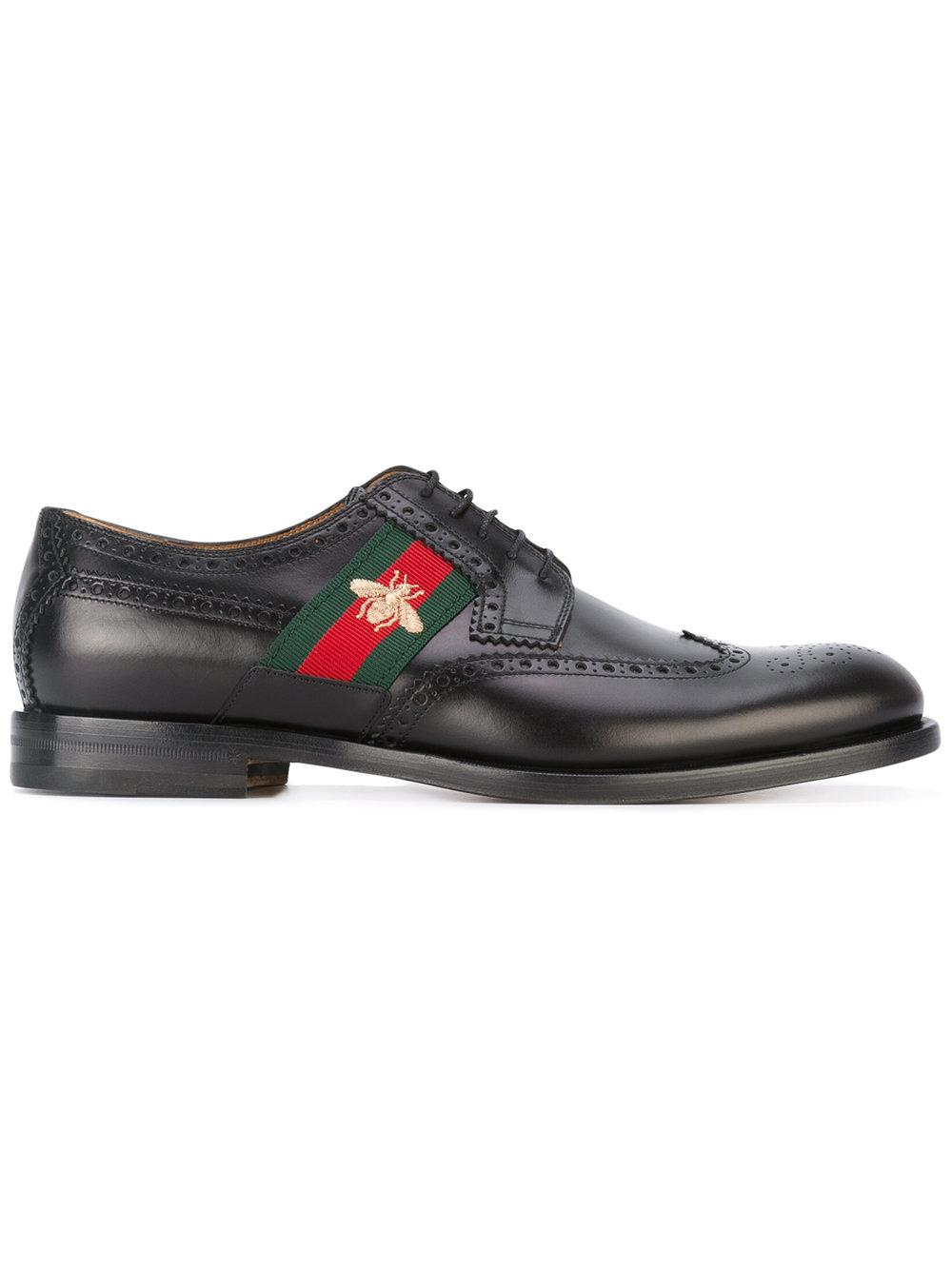 Gucci Leather Bee Embroidery Derby Shoes in Black for Men