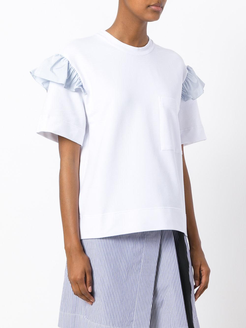 Lyst anna k frill sleeve t shirt in white for Frill sleeve t shirt