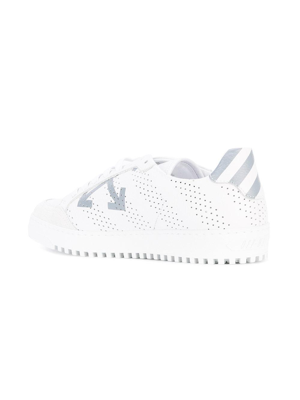 Off-White c/o Virgil Abloh Leather Perforated Arrow Sneakers in White