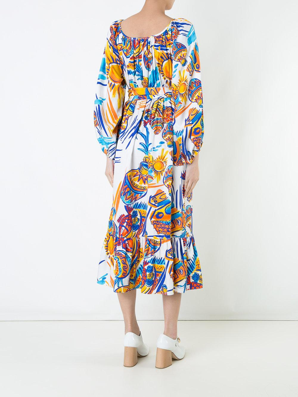 Maryam Nassir Zadeh Silk Villabolos Print 'eugenia' Dress in Blue