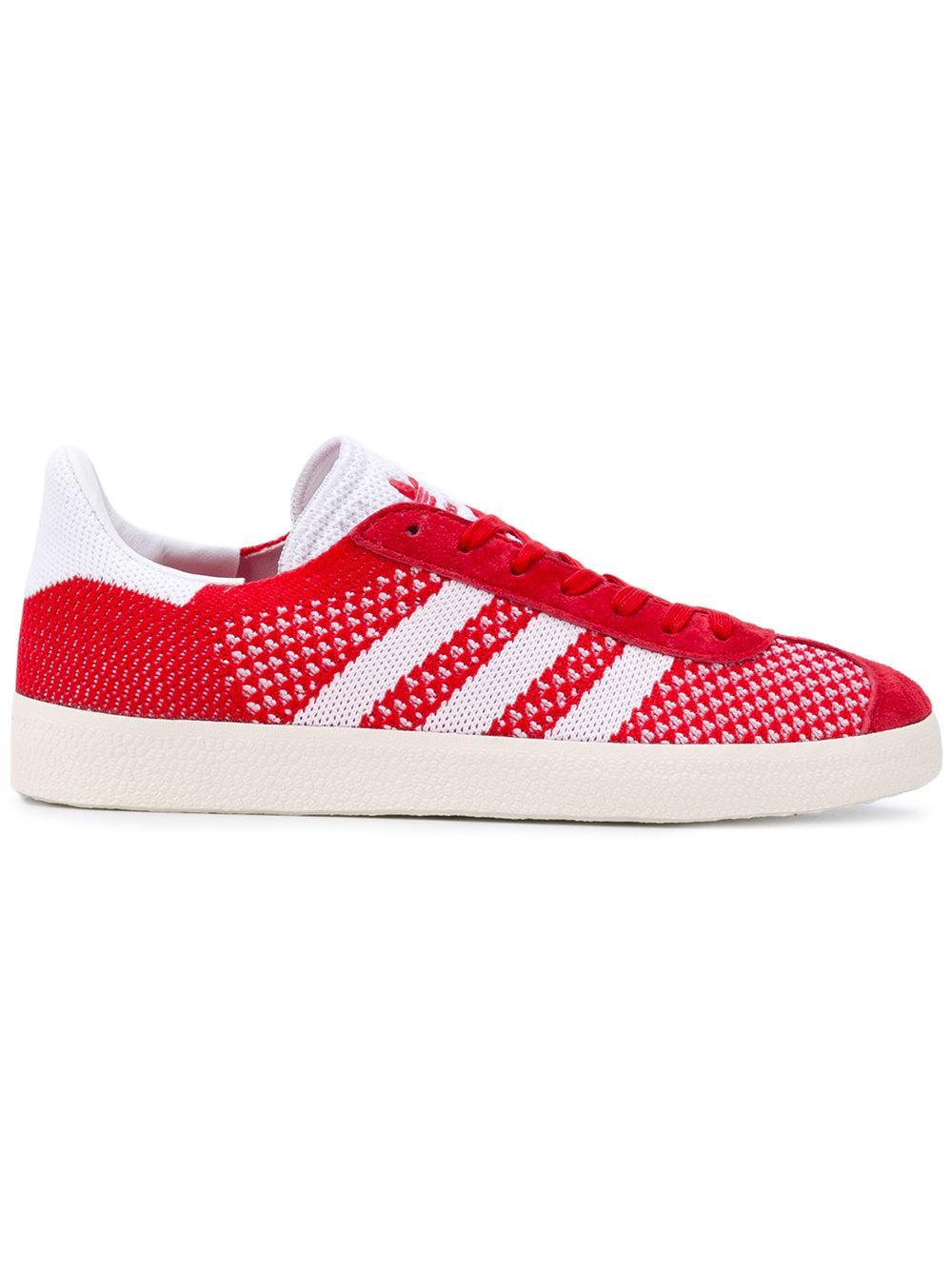 lyst adidas originals gazelle primeknit sneakers in red. Black Bedroom Furniture Sets. Home Design Ideas