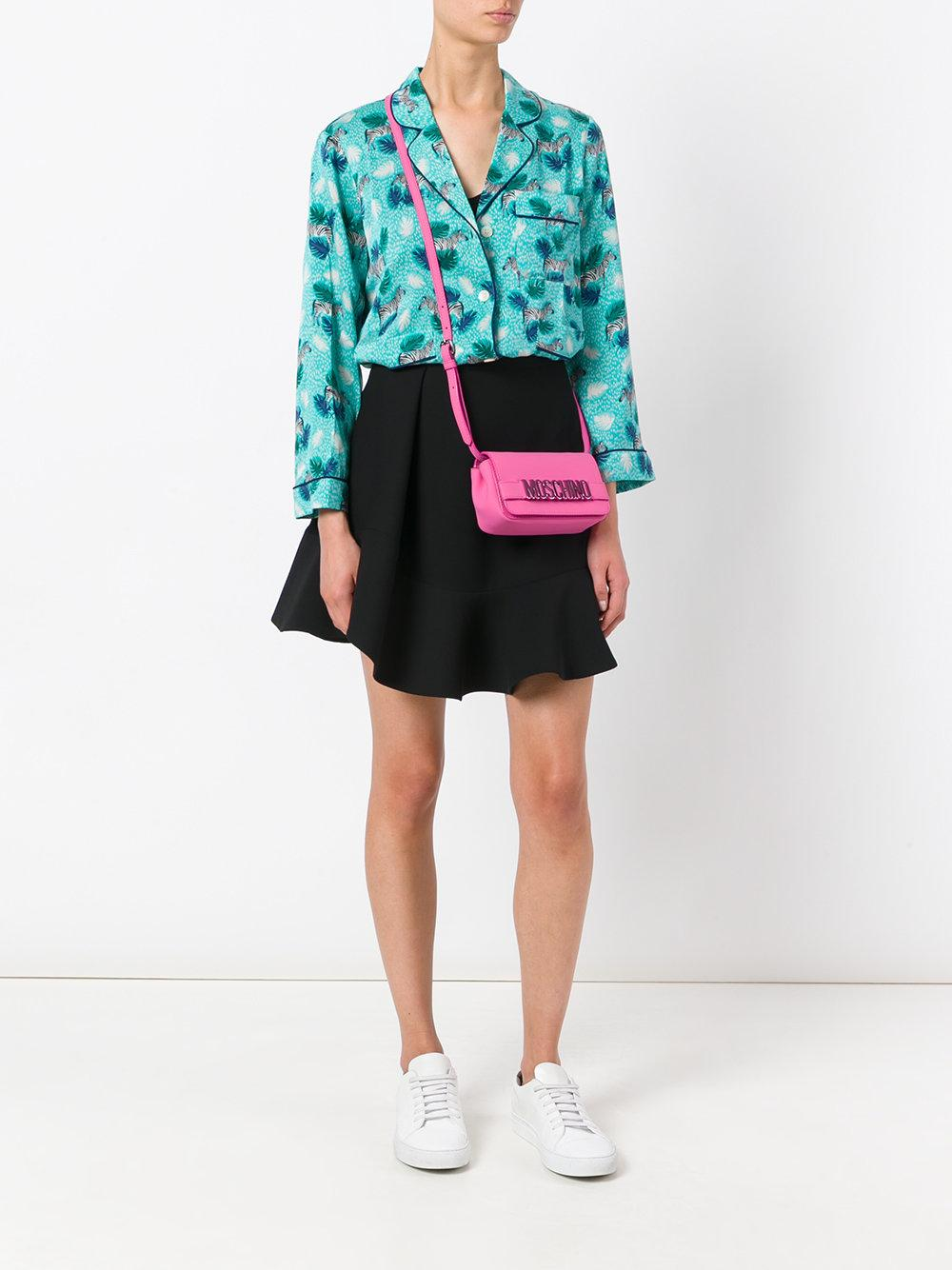 Moschino Leather Logo Cross Body Bag in Pink/Purple (Pink)