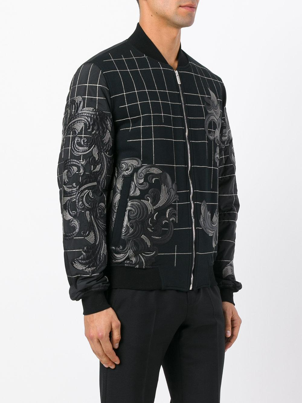Versace Cotton Baroque Embroidered Bomber Jacket in Black for Men