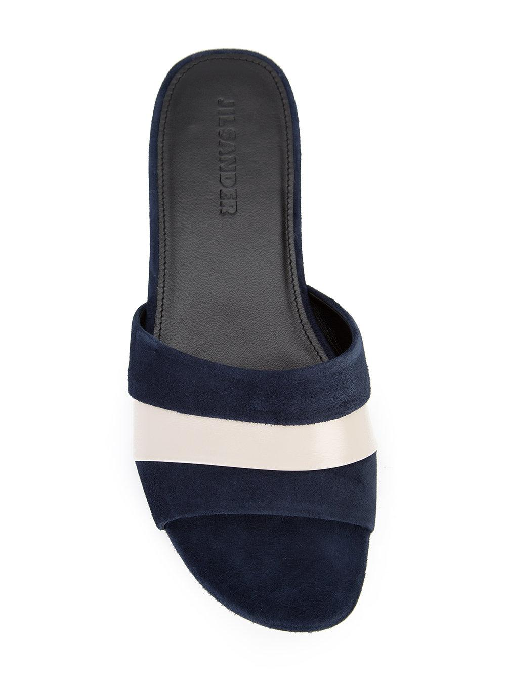Jil Sander Stripe Slides In Blue Lyst