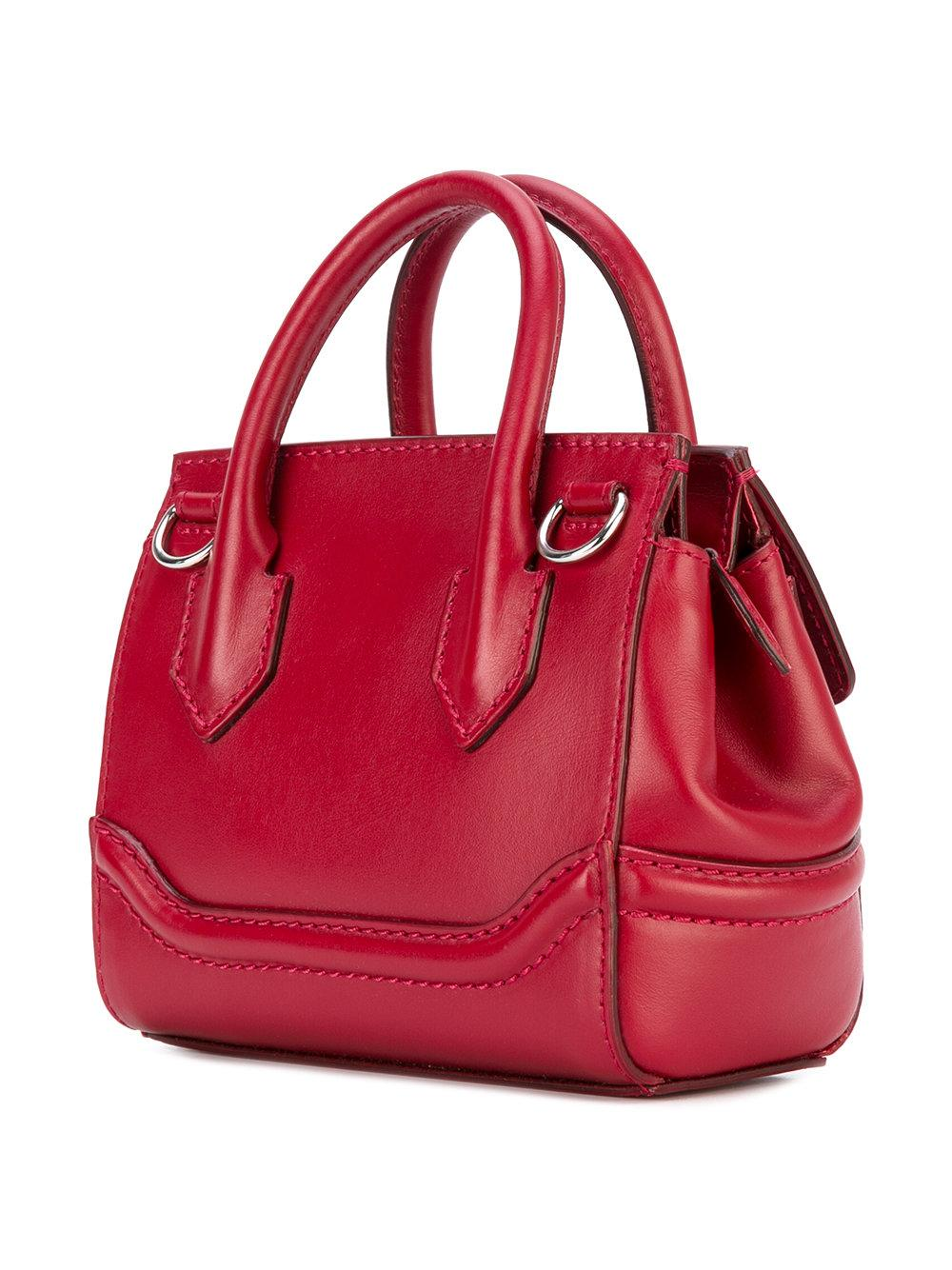 Versace Leather Mini Palazzo Empire Shoulder Bag in Red