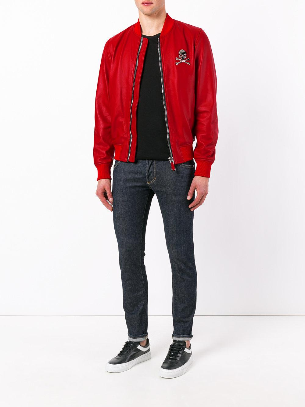 Philipp Plein Synthetic No Light Bomber Jacket in Red for Men