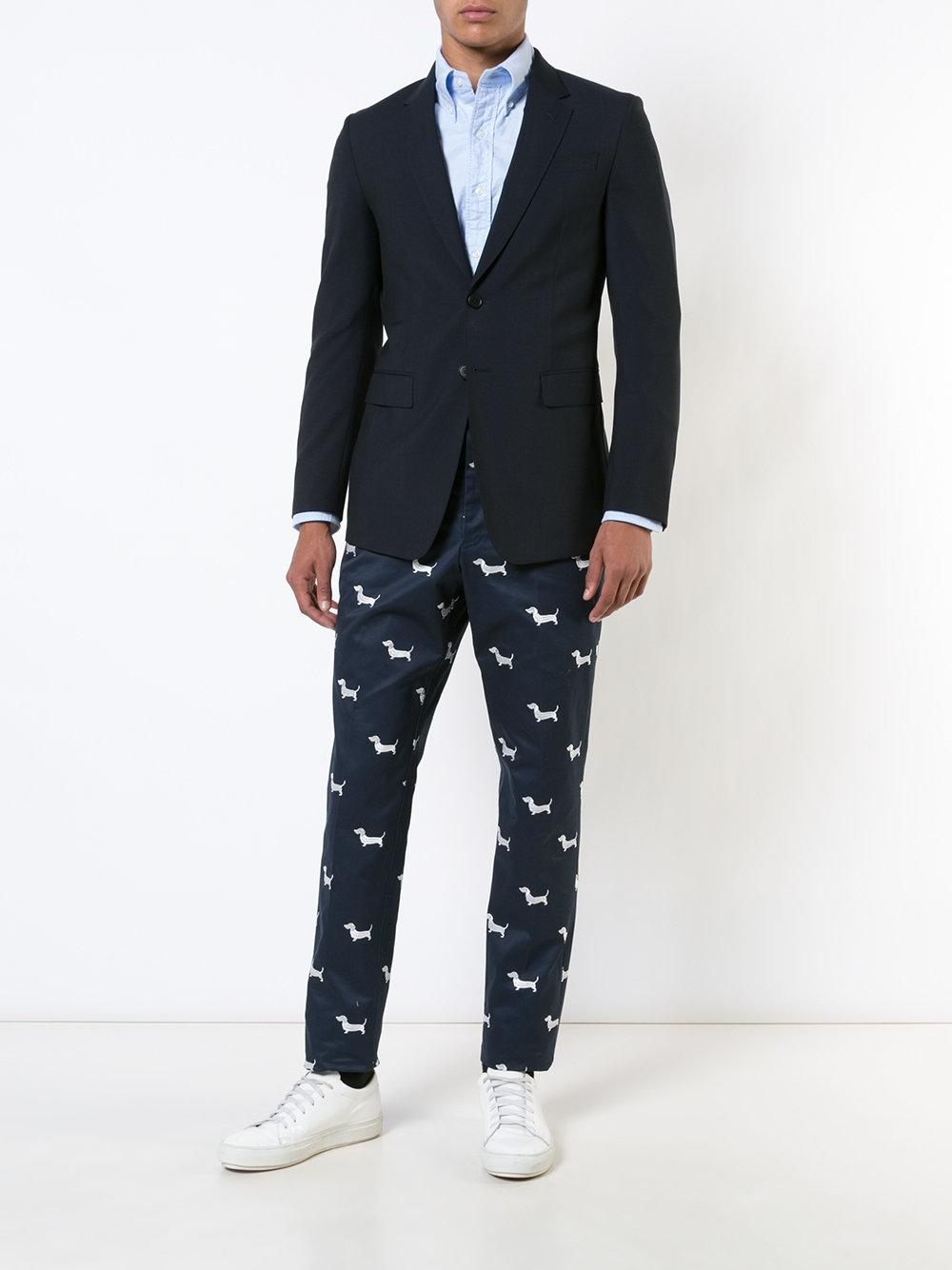 Thom Browne Cotton Dog Print Tapered Trousers in Blue for Men