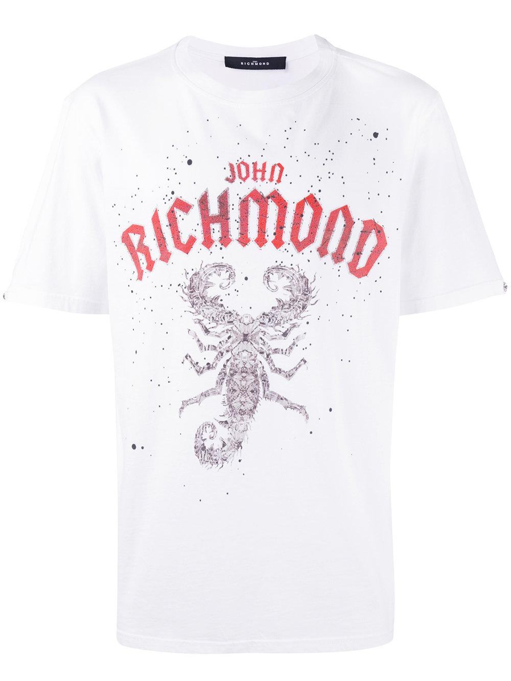 John richmond t shirt con scorpione stampato in white for for Richmond t shirt printing