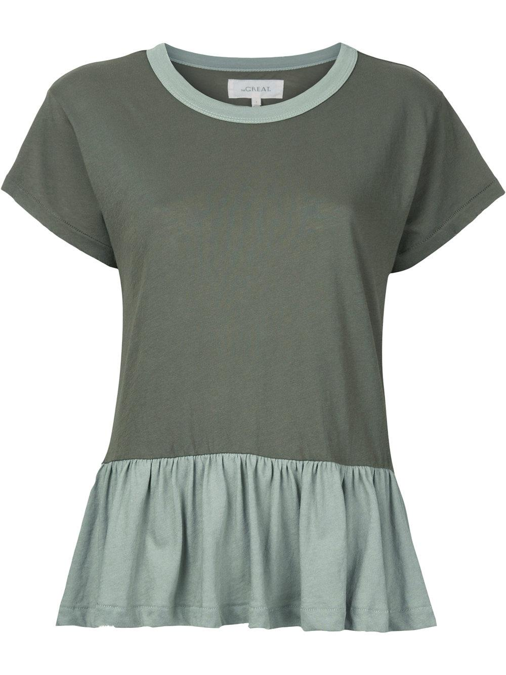 Lyst the great maglia t shirt 39 the ruffle 39 in green The great t shirt