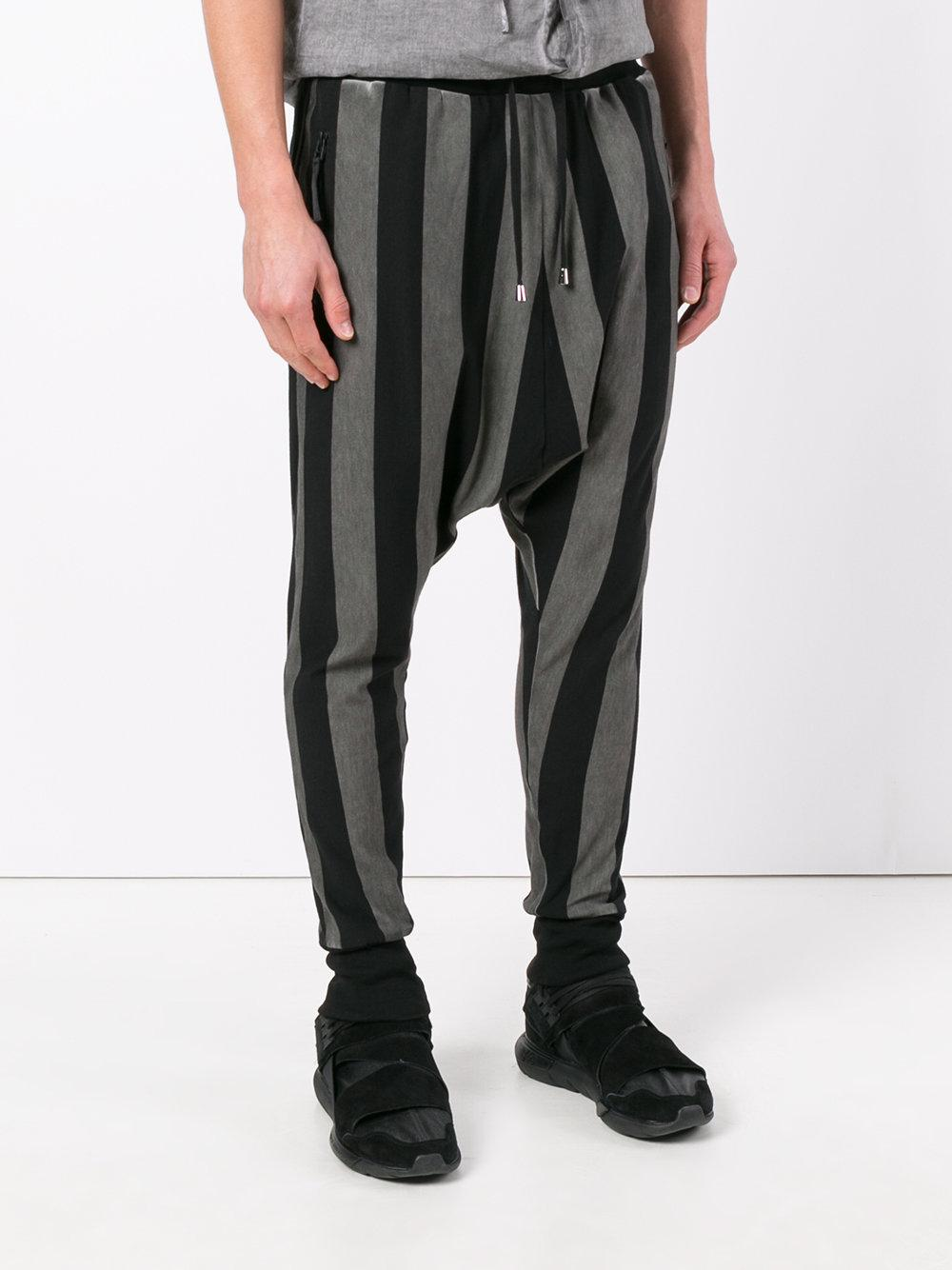 Unconditional Cotton Striped Drop-crotch Drawstring Trousers in Black for Men