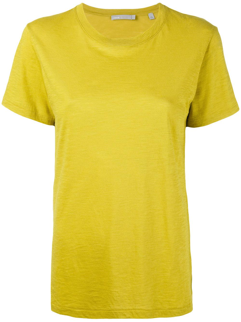 Lyst vince short sleeve t shirt in yellow for Vince tee shirts sale