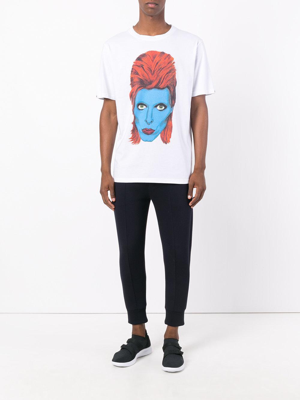 John richmond david bowie print t shirt in white for men for Richmond t shirt printing