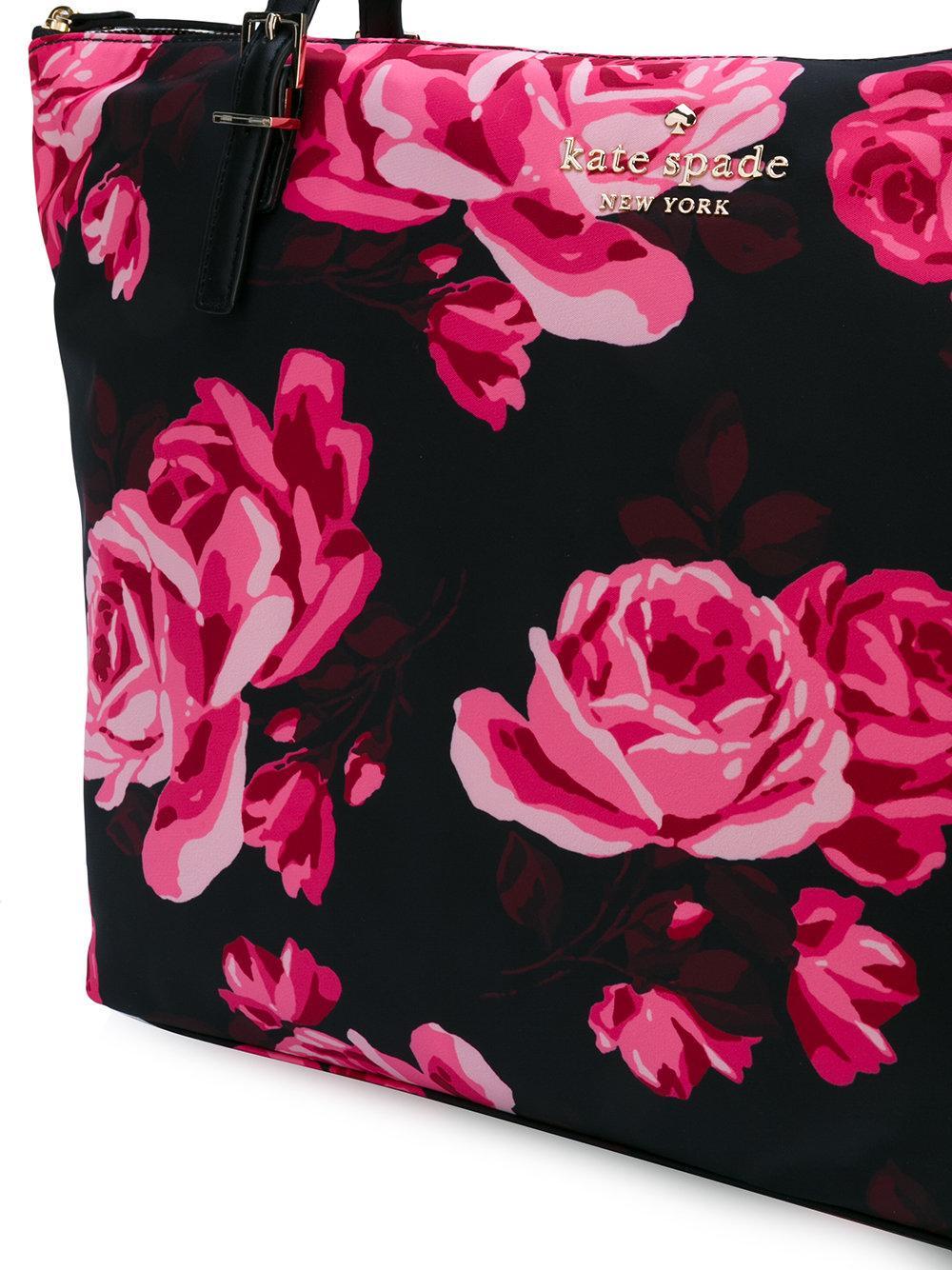 Lyst Kate Spade Floral Print Tote Bag In Black