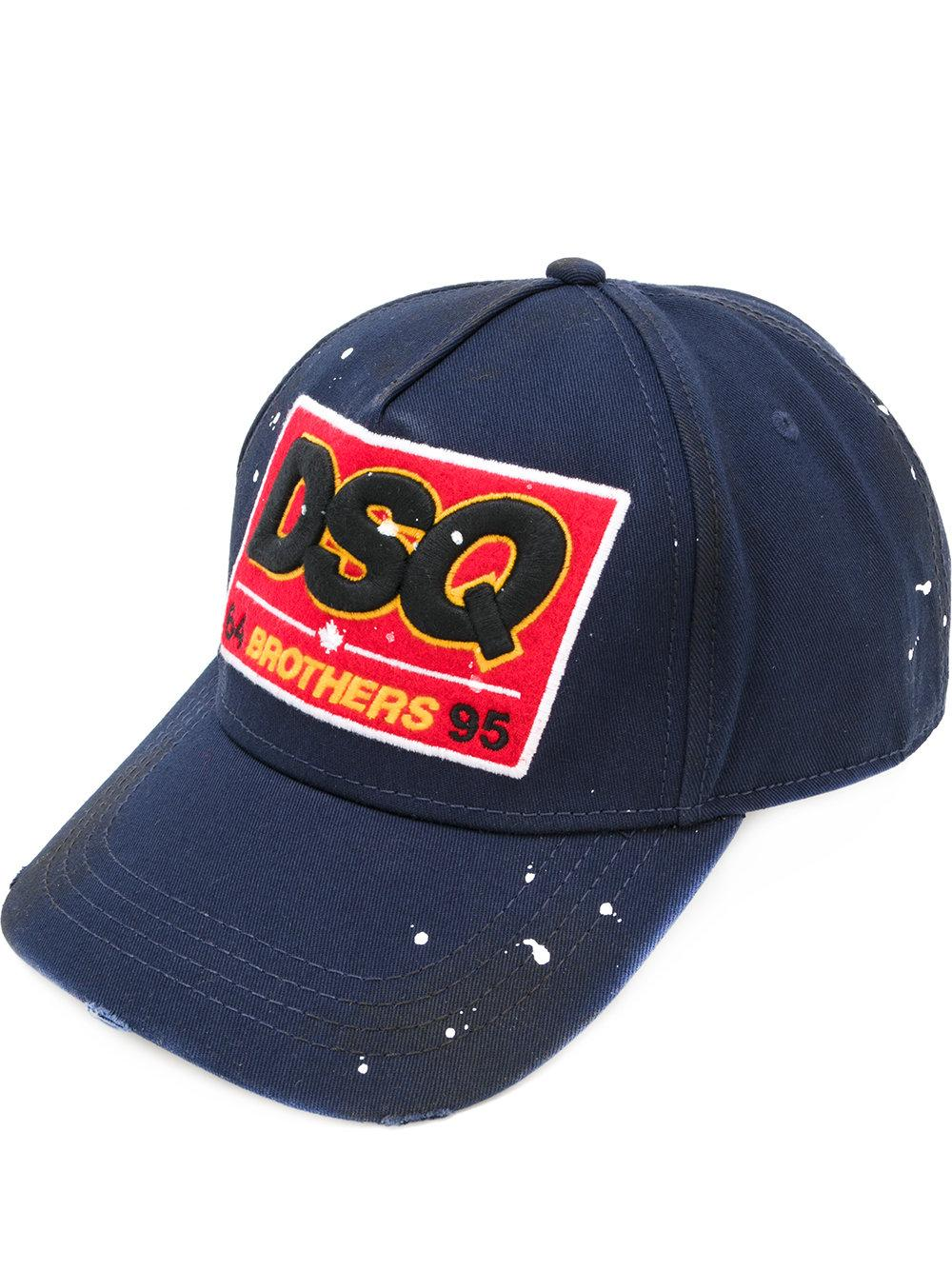 Dsquared 178 Cotton Dsq Patch Baseball Cap In Blue For Men Lyst