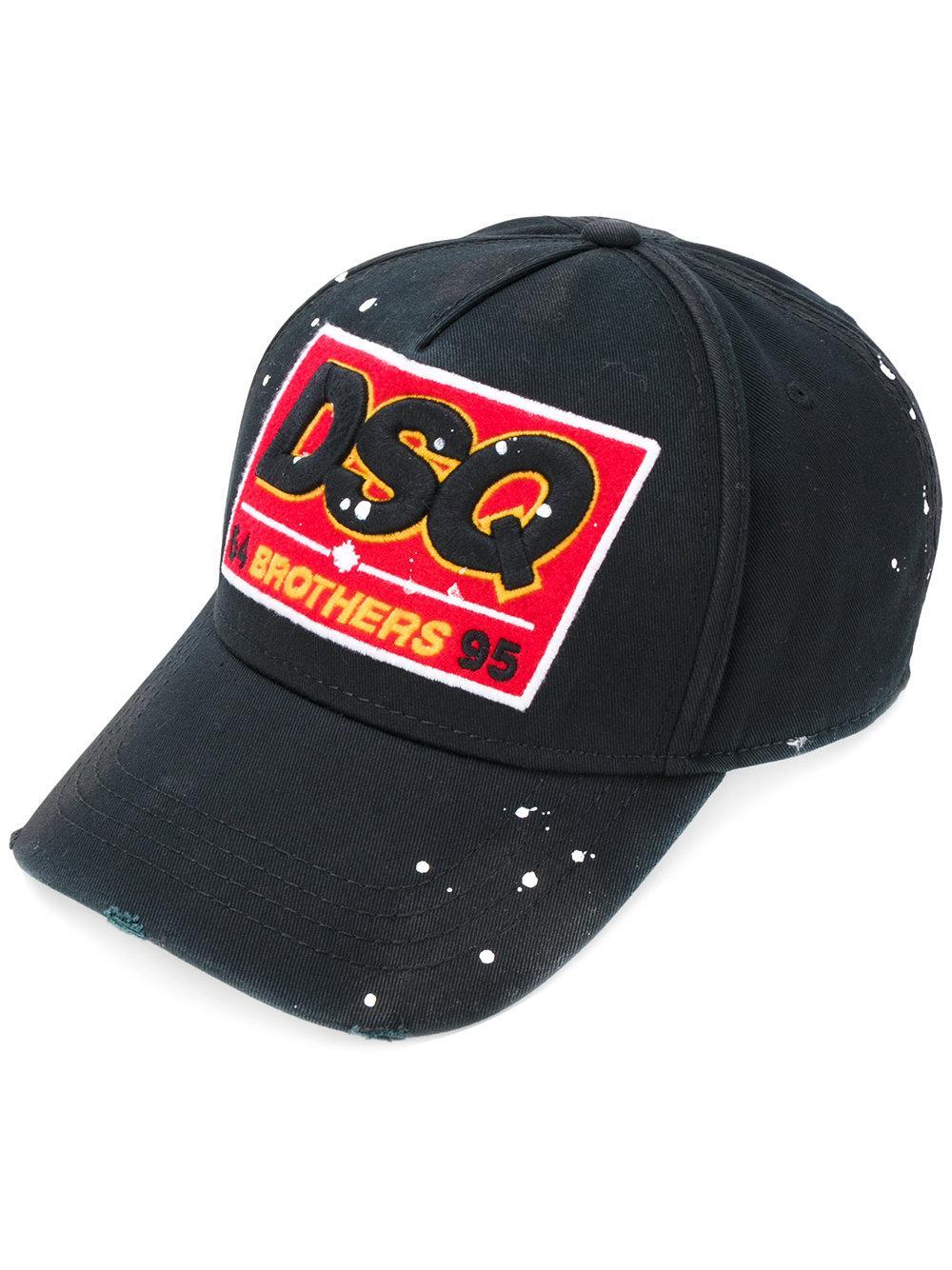 09e674bc2 DSquared² Cotton Dsq Patch Baseball Cap in Black for Men - Lyst