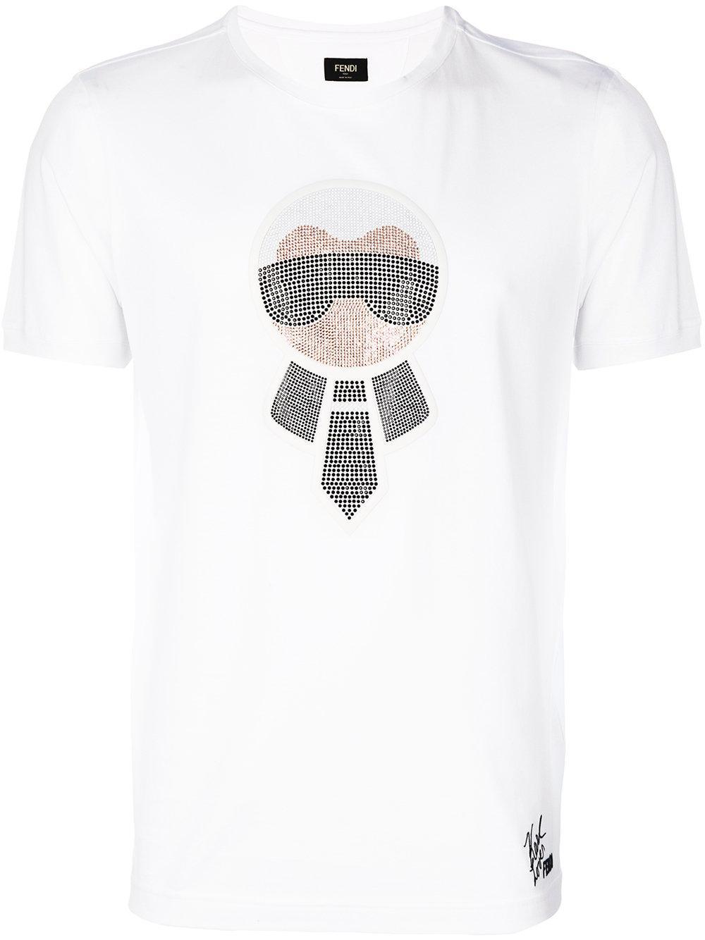 Fendi Karlito T Shirt In White For Men Lyst