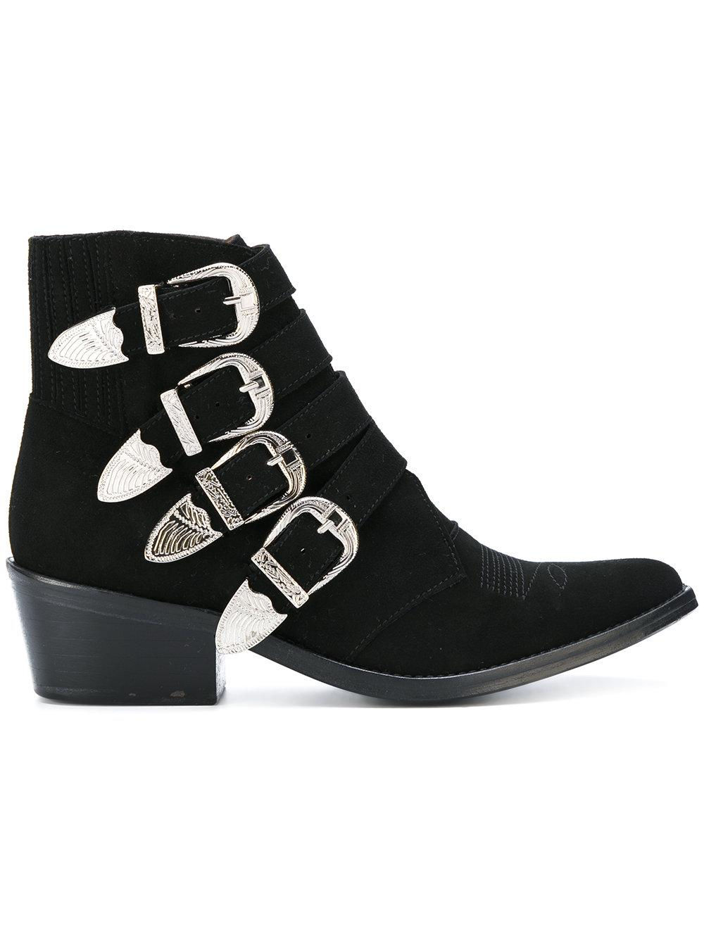 toga pulla buckle detail ankle boots in black lyst