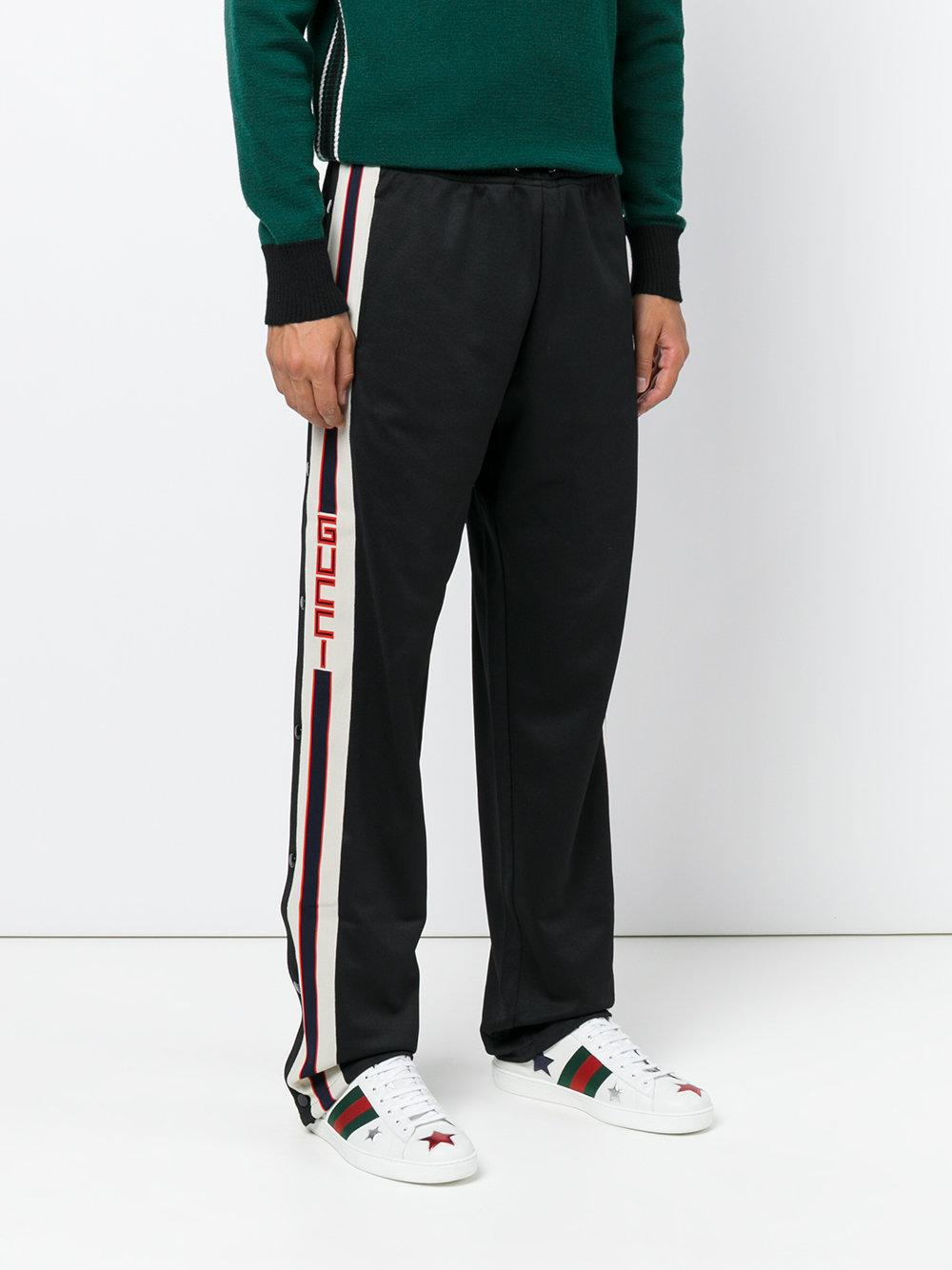 gucci technical jersey joggers in black for men lyst