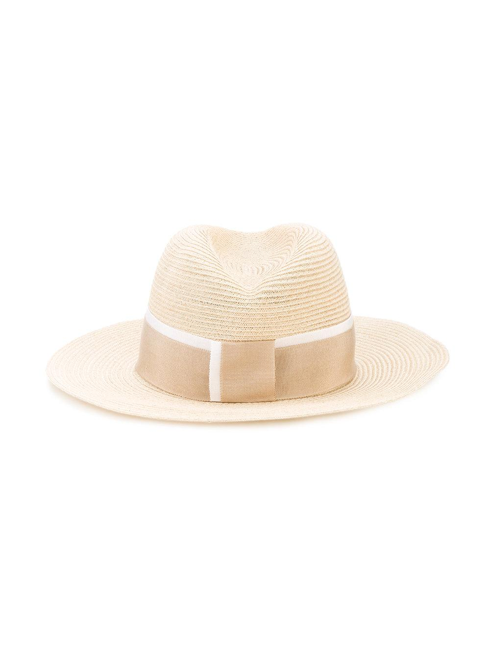Lyst maison michel hat with grosgrain ribbon in natural for Maison michel