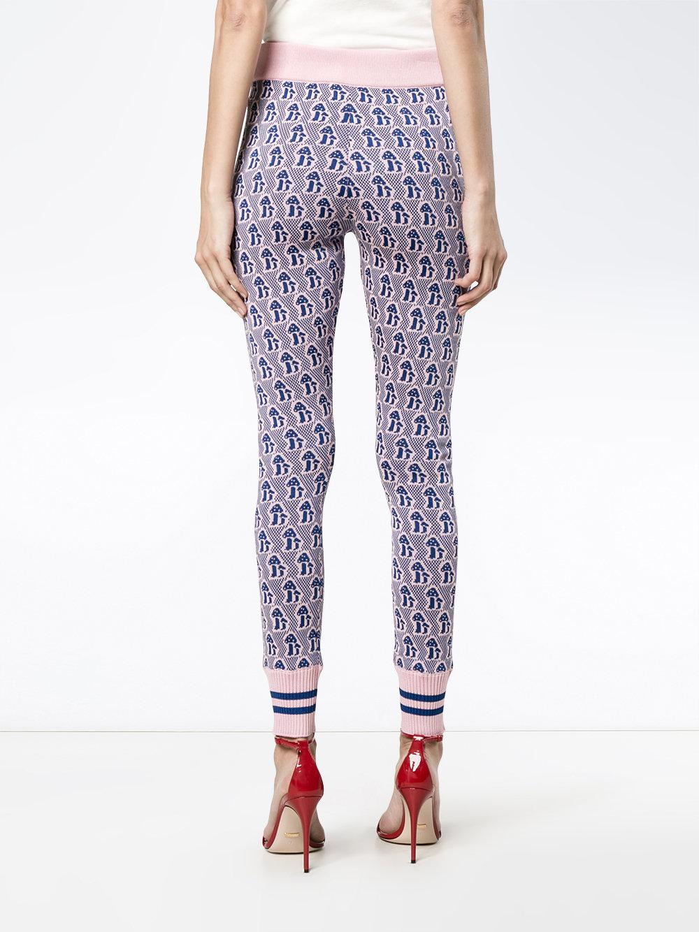 Lyst - Gucci Mushrooms Jacquard Knit Leggings