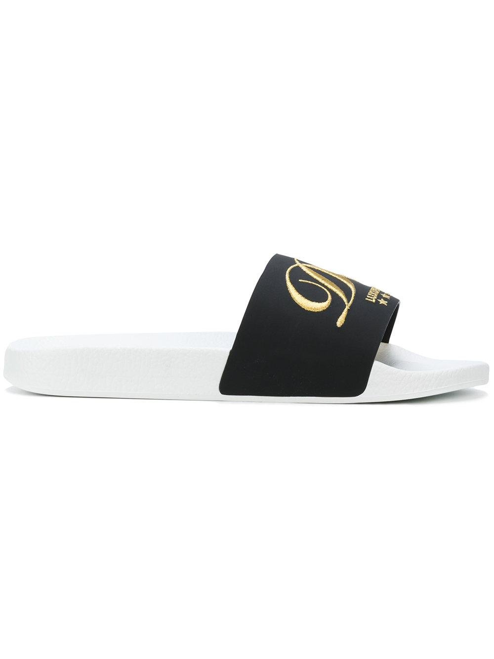 Dolce Amp Gabbana Embroidered Hotel Pool Slides In Black Lyst